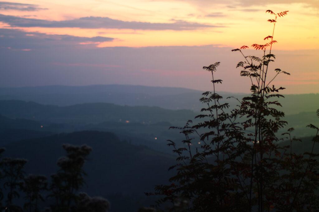 Sonnenuntergang von der Kuhhelle mit Blick auf Meggen