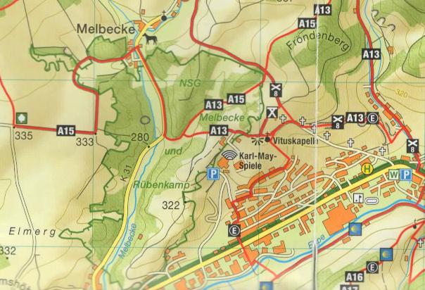 Ausschnitt Wanderkarte mit Naturschutzgebiet Melbecke und Rübenkamp