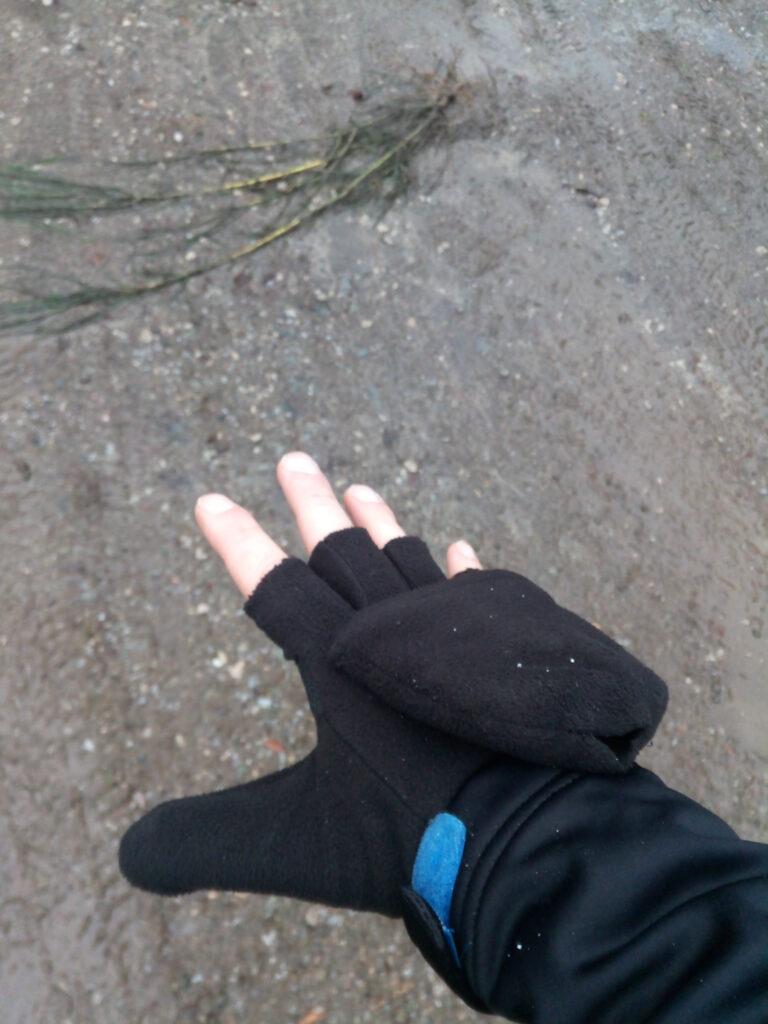 aufklappbare Handschuhe aufgeklappt