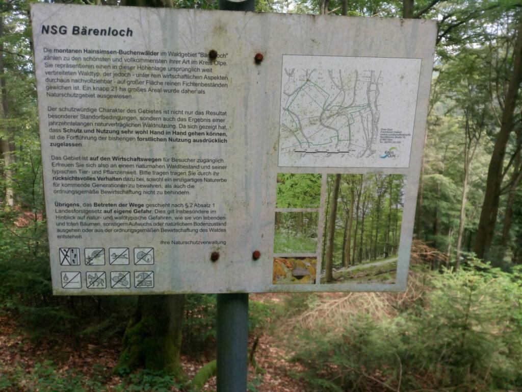 Hinweistafel Naturschutzgebiet Bärenloch