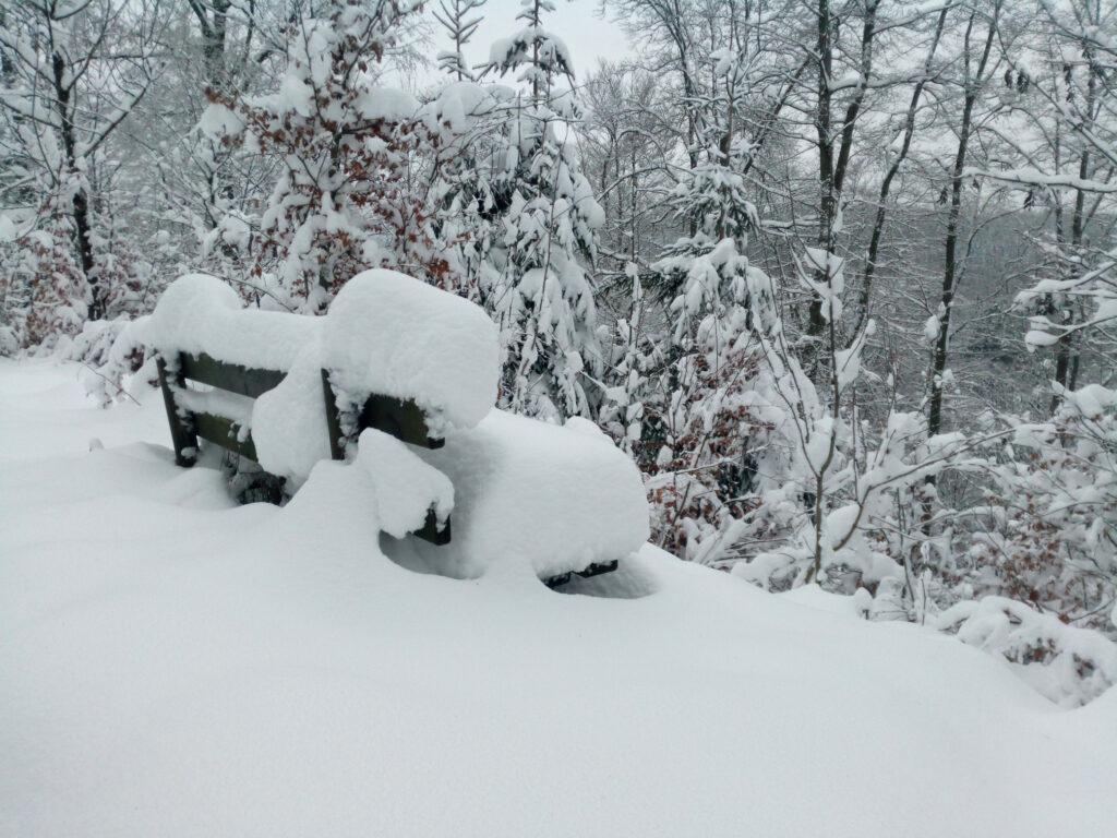 Mit Schnee bedeckte Sitzbank
