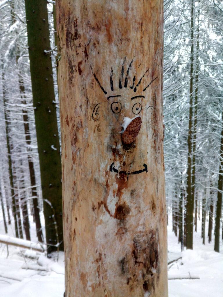 aufgemalter Waldschrat auf Totholz mit Fichtenzapfennase