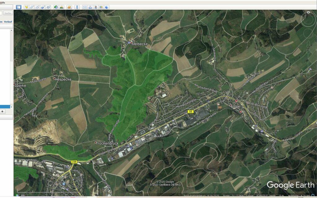 Screenshot aus Google Earth mit halbtransparentem Bild-Overlay eines Naturschutzgebietes. Geholt per WMS vom Bundesamt für Naturschutz