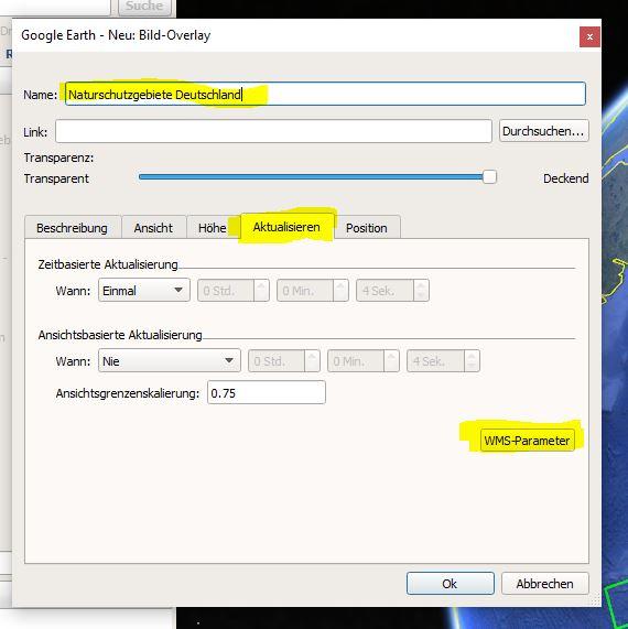 """Wähle die Registerkarte """"Aktualisieren"""" und klicke auf den Button """"WMS-Parameter"""""""