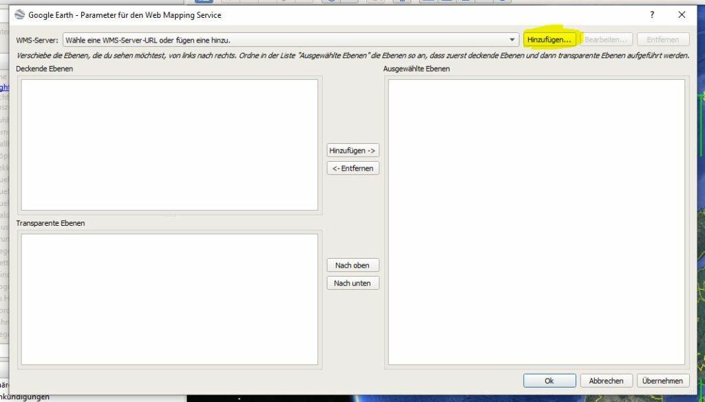 """Klicke auf den Button """"Hinzufügen"""" um einen neuen WMS-Dienst hinzuzufügen"""
