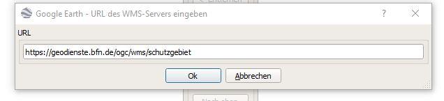 """Gib die URL """"https://geodienste.bfn.de/ogc/wms/schutzgebiet"""" ein (ohne Anführungszeichen) und klicke auf """"OK"""""""