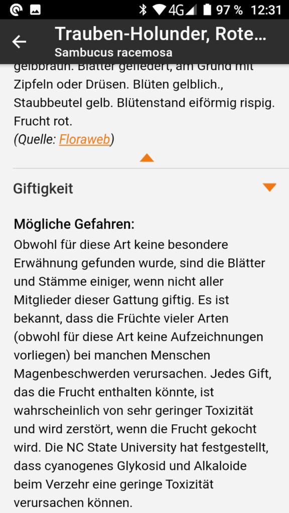 Screenshot aus App Flora IncognitaScreenshot aus App Flora Incognita