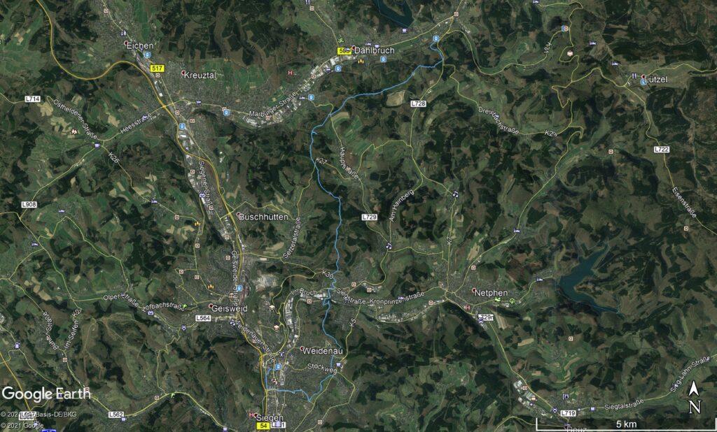 Übersicht über den Tourverlauf in Google Earth