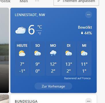Screenshot aus dem Wetterbericht für Lennestadt zur Nacht vom 17.04. auf den 18.04.