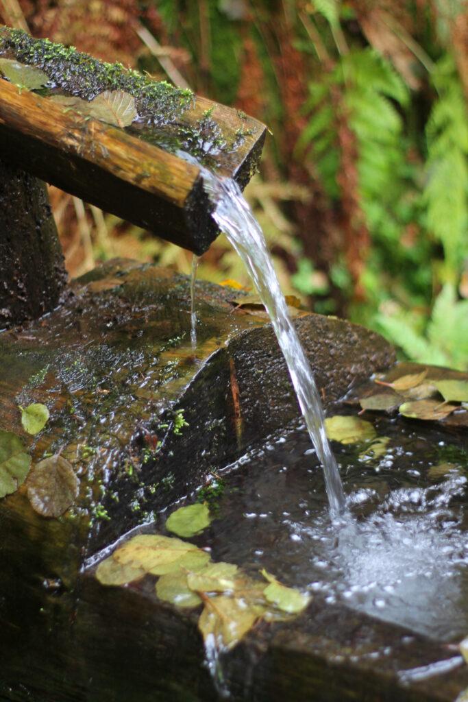 Kein flaches Gewässer sondern eine gefasste Quelle an der man sich bequem seine Wasservorräte auffüllen kann.