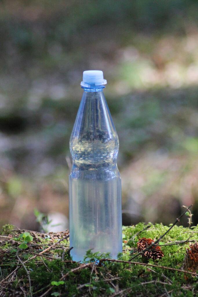 Wasserflasche draußen auf einem Baumstumpf
