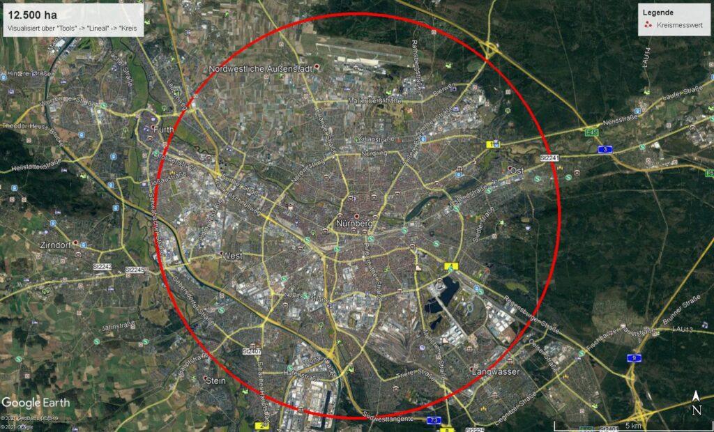 Hier visualisiere ich die Fläche der Wittgenstein-Berleburg'schen Rentkammer mit Google Earth am örtlichen Beispiel von Nürnberg