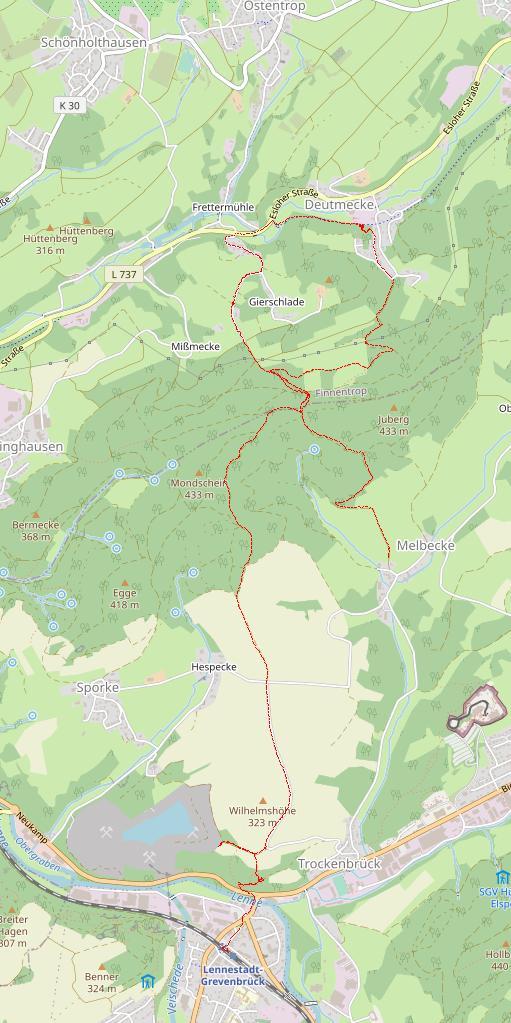 Wegstrecke der Tour von Melbecke nach der Deutmecker Höhle und zurück nach Grevenbrück